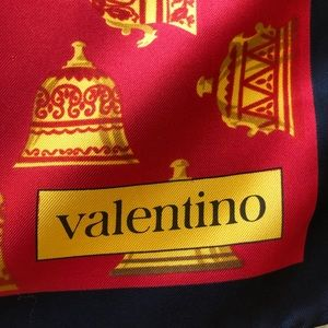 Valentino Christmas Bells Lotus Silk Scarf 34 x 34